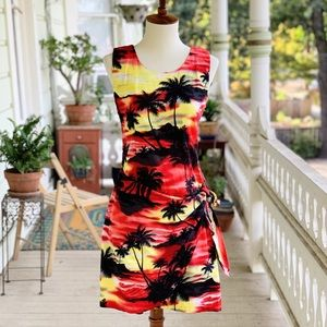 Vintage Ky's Made in Hawaii Sunset Sarong Dress